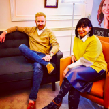 The Grooming Guide Editor Nick Cox with Sabrina Shah - Desai.