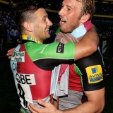 Teamates Chris Robshaw and Danny Care celebrating a big win